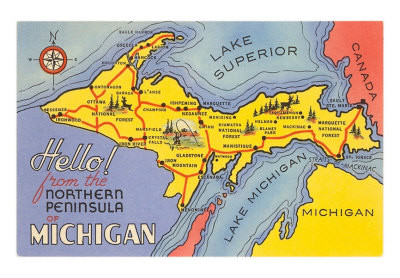 Michigan's Upper Peninsula is surrounded by three of the Great Lakes